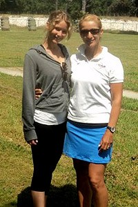 Jennifer Lawrence with US Olympic archer Khatuna Lorig, who trained her for the role. Photo: ESPN
