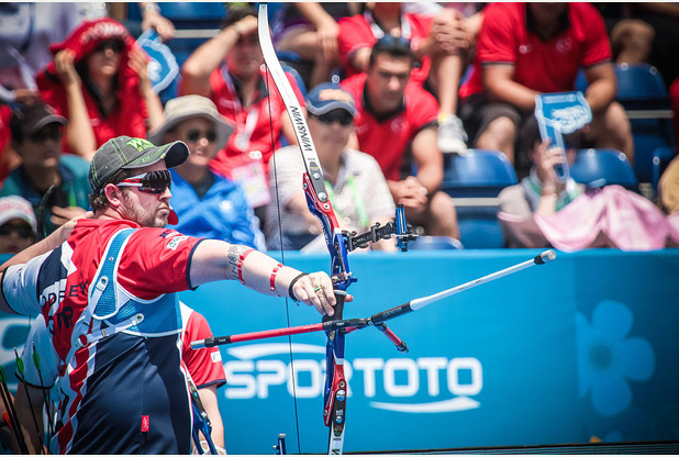 SHANGHAI, CHINA - MAY 1: In this handout image provided by the World Archery Federation, Larry Godfrey of Great Britain shoots in the recurve men team bronze medal match during the Hyundai Archery World Cup on May 1, 2016 in Shanghai , China. (Photo by Dean Alberga/World Archery via Getty Images)